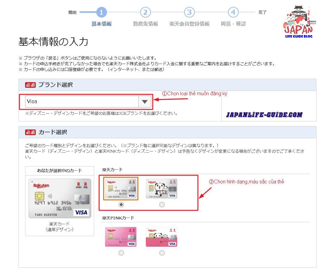 đăng ký thẻ visa rakuten ở nhật