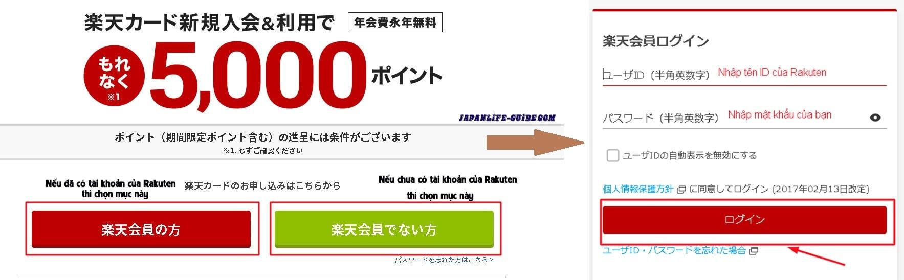 hướng dẫn đăng ký thẻ Rakuten ở Nhật