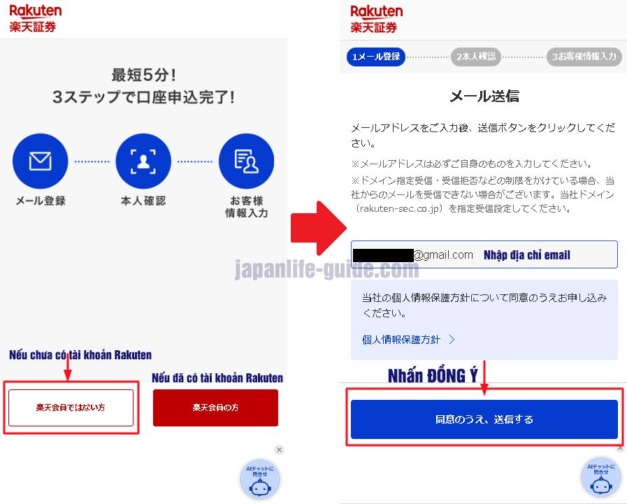 mở tài khoản chứng khoán Rakuten ở nhật