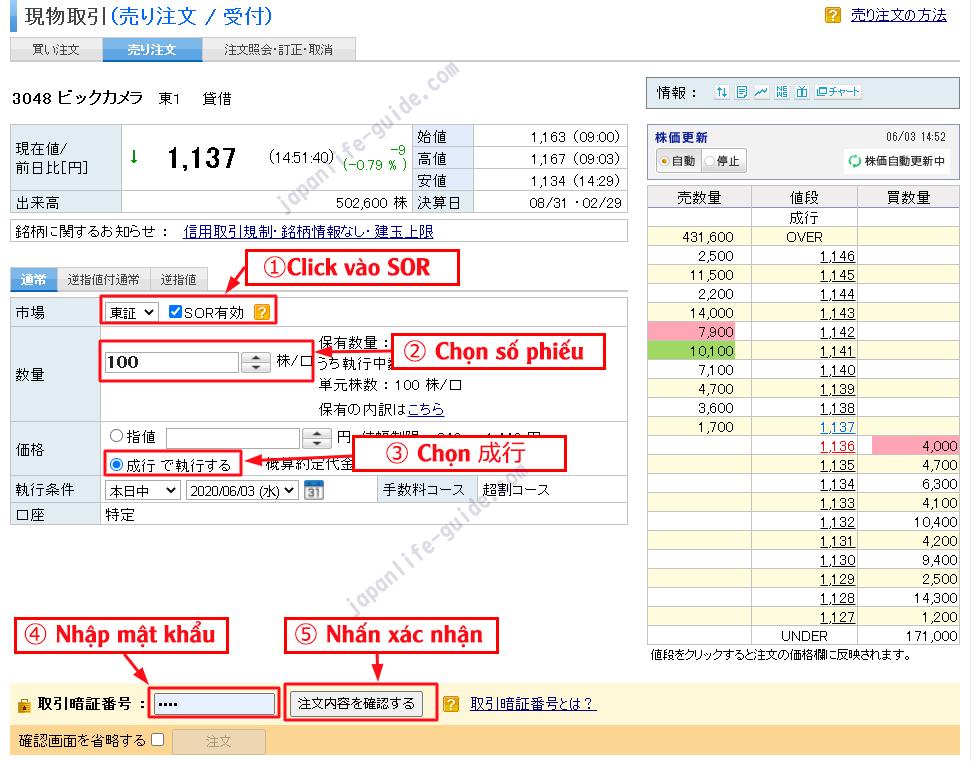 cách bán cổ phiếu chứng khoán ở nhật