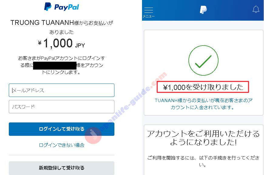 nhận tiền qua paypal ở nhật