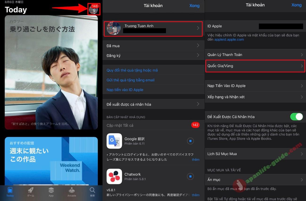 Cách chuyển vùng app store sang Nhật