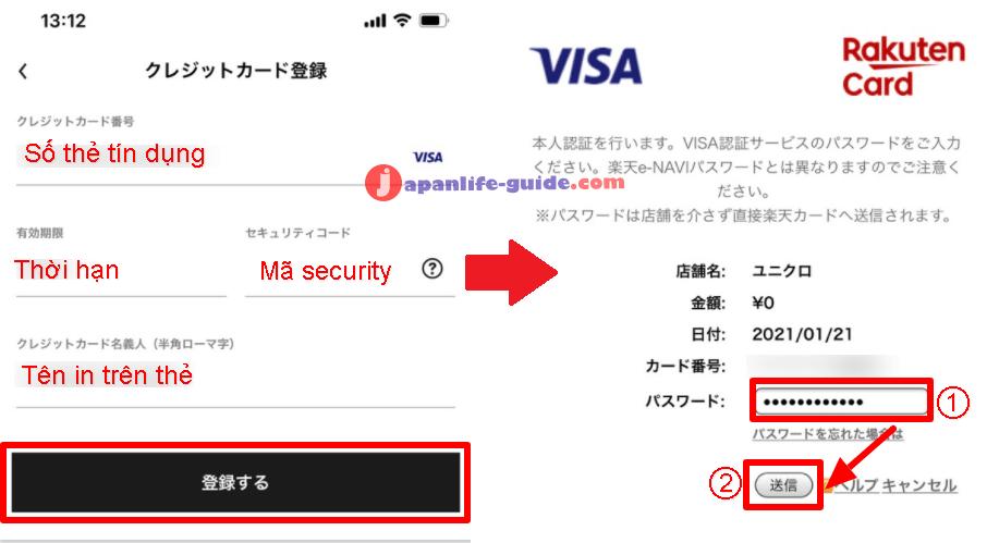 cách thêm thẻ tín dụng vào uniqlo pay