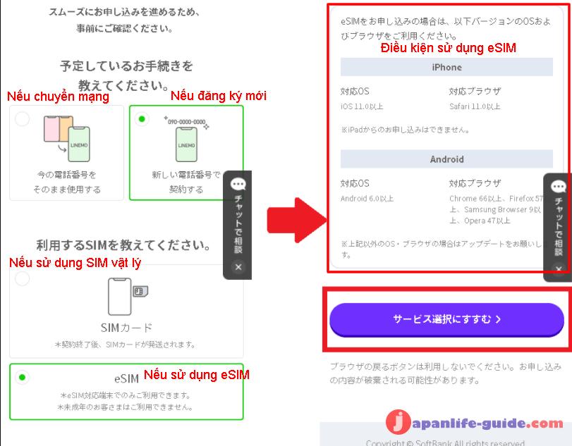 đăng ký sim mới của softbank